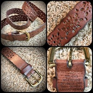 Brown Leather Belt with Scalloped Edged